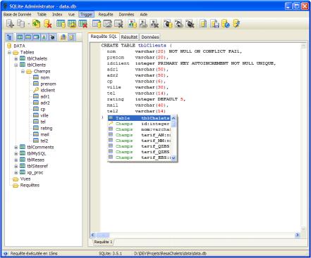 SQLite administrator screenshot